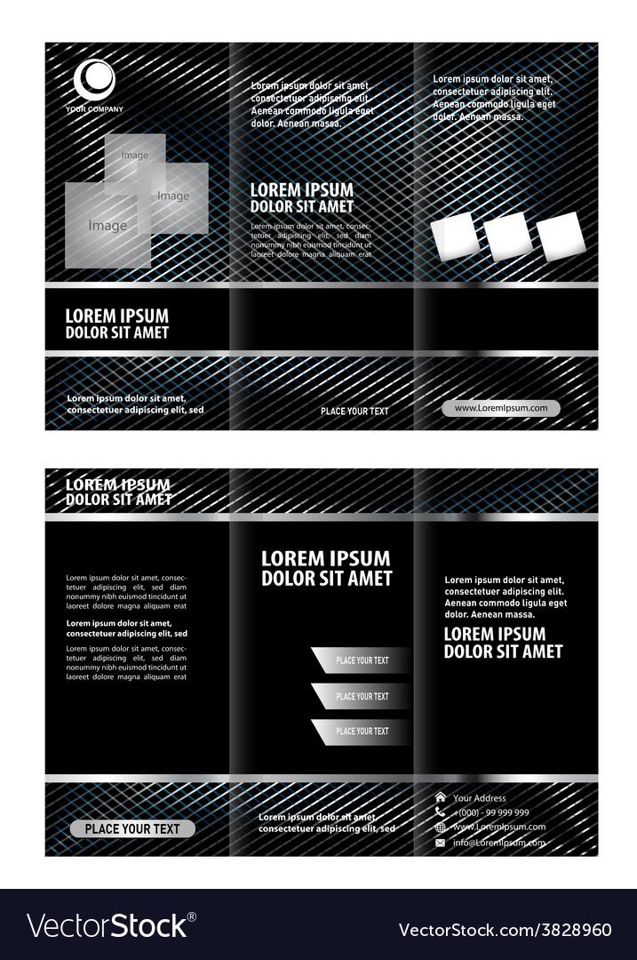 Black Brochure Tri Fold Template Royalty Free Vector Image