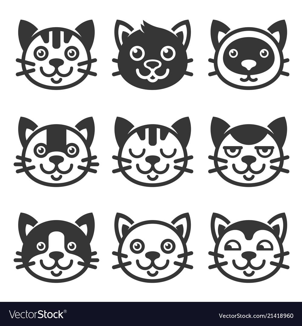 Cat cartoon face icon set