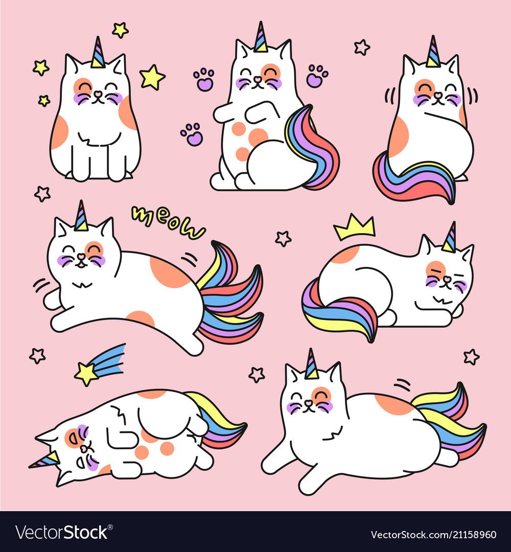 Cat unicorn set Royalty Free Vector Image - VectorStock