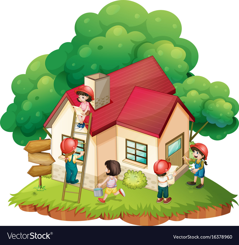 Children building little house Royalty Free Vector Image