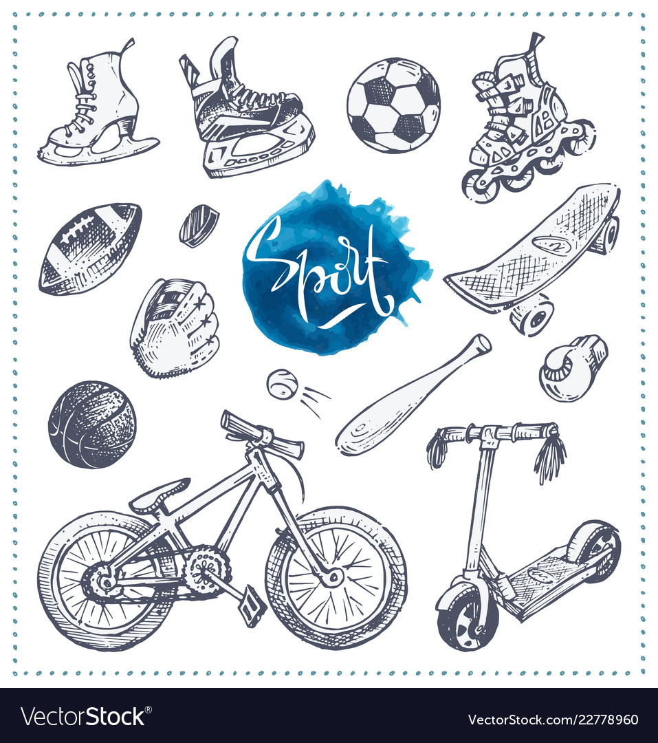 Hand drawn icons of sport equipment sketch