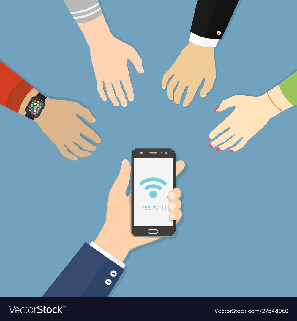 Hand holding black smartphone with wi-fi icon