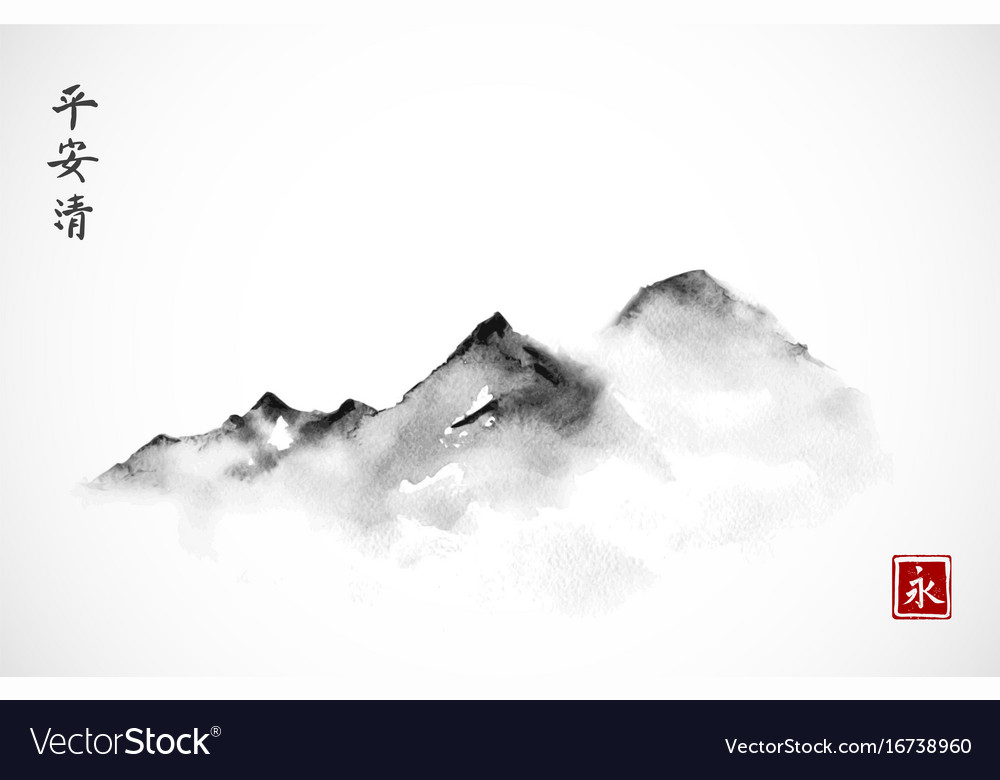 Mountains in fog hand drawn with ink in minimalist