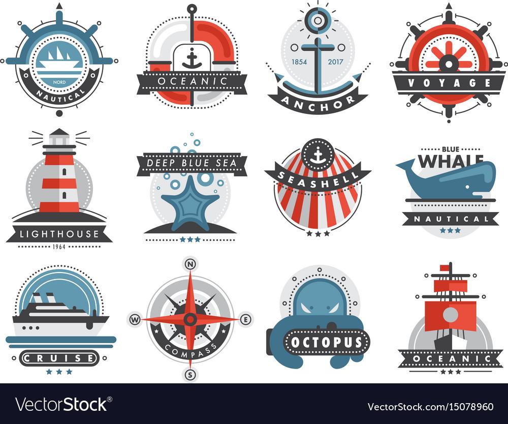 Nautical templates set marine labels sea badges
