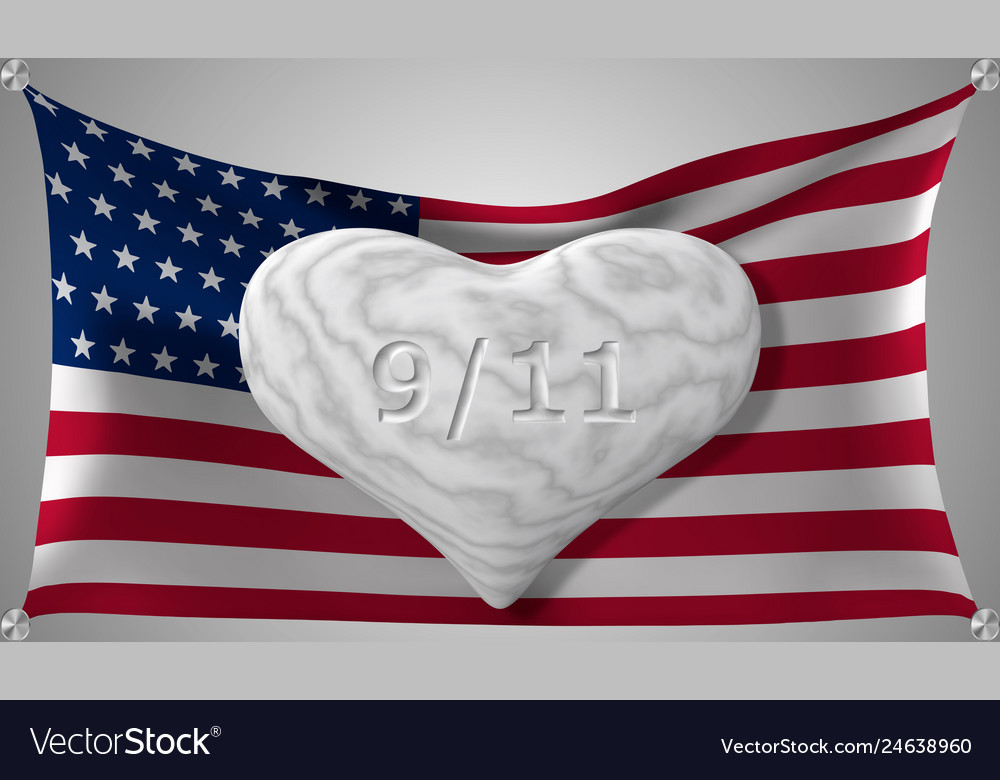 Patriot day the 11th of september marble heart on