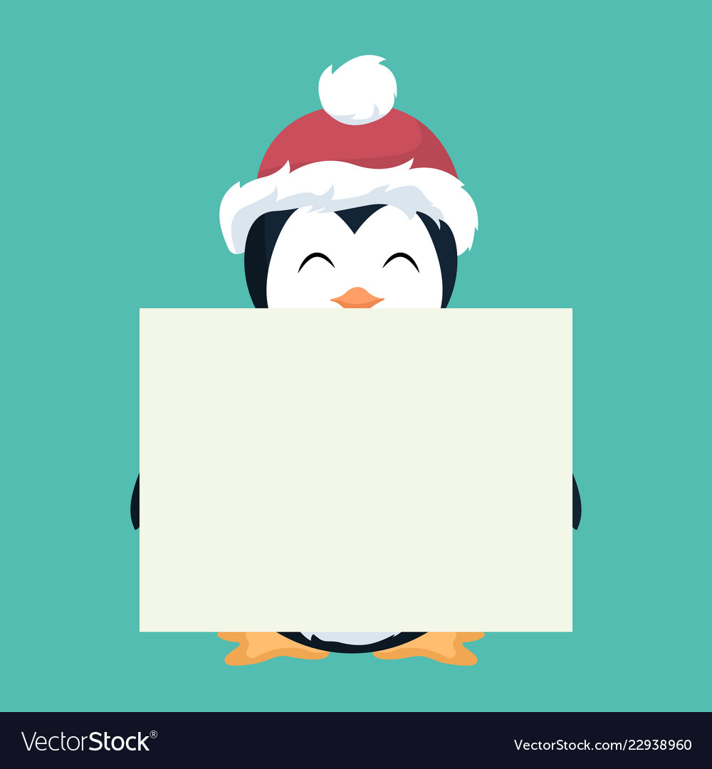 Penguin christmas card holding a white placard
