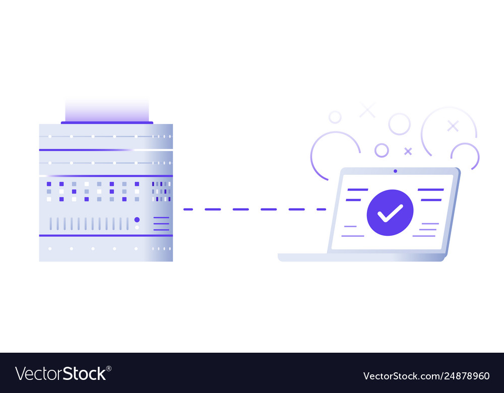 Server and laptop programming concept flat