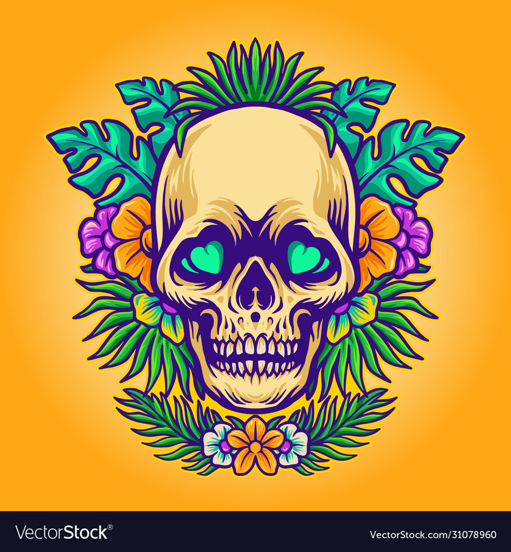 Skull summer and exotic tropical flowers