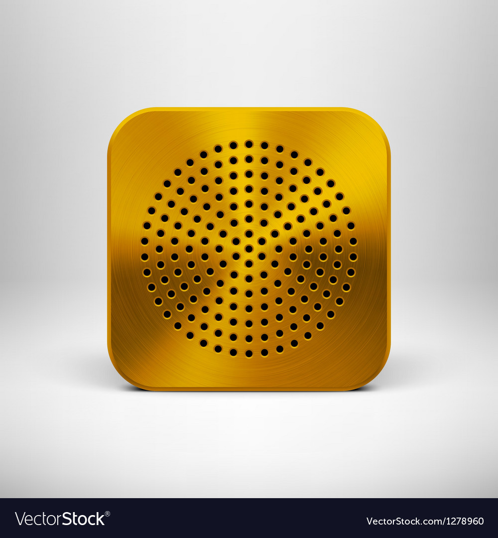 Technology App Icon Template with Gold Metal vector image