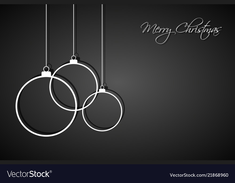 Three white christmas balls on black background