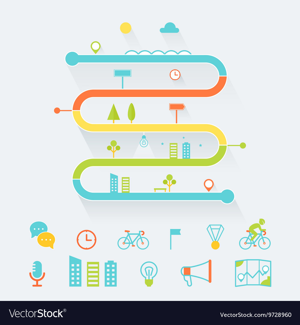 Timeline Route and Road Map Infographics Elements vector image