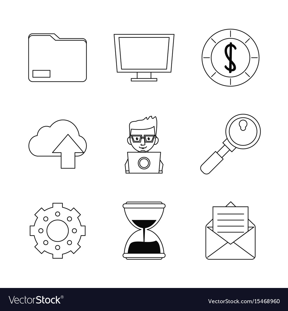 White background with monochrome marketing icons