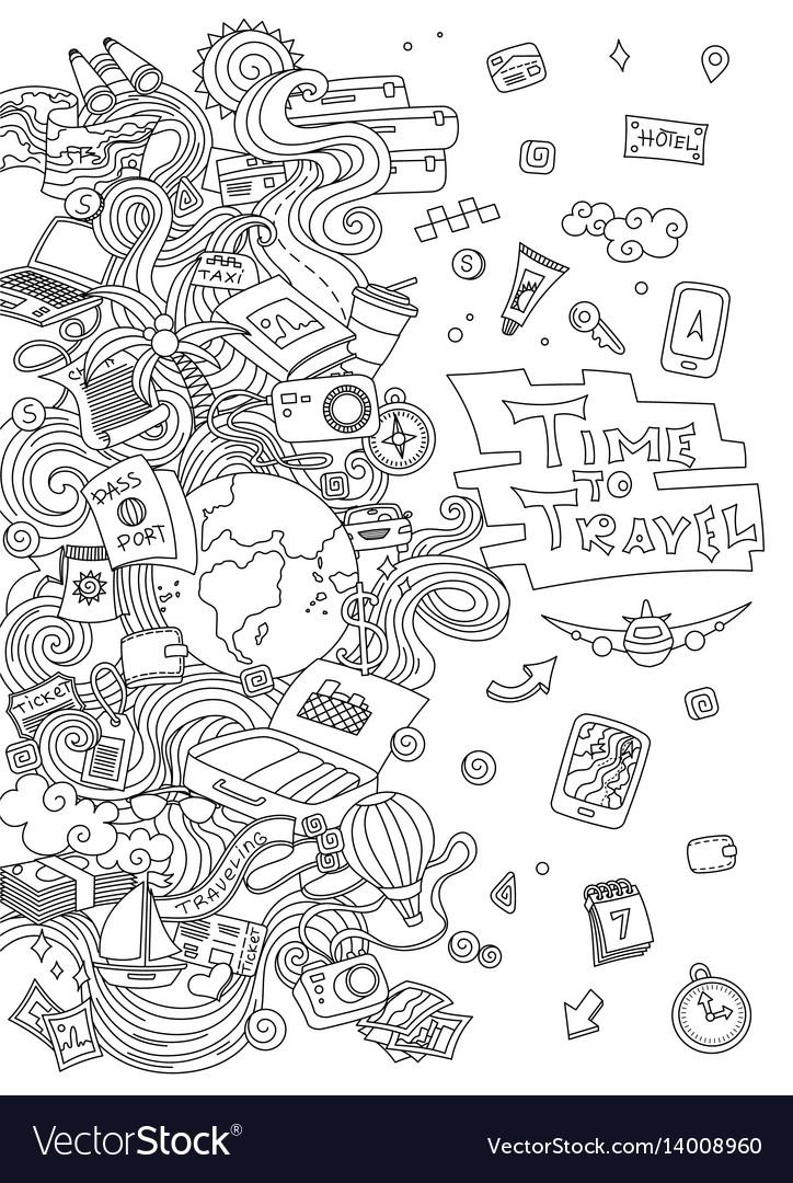 World travel set hand drawn simple