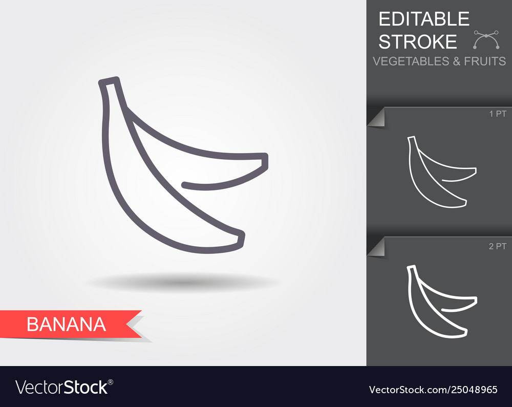Bananas line icon with editable stroke