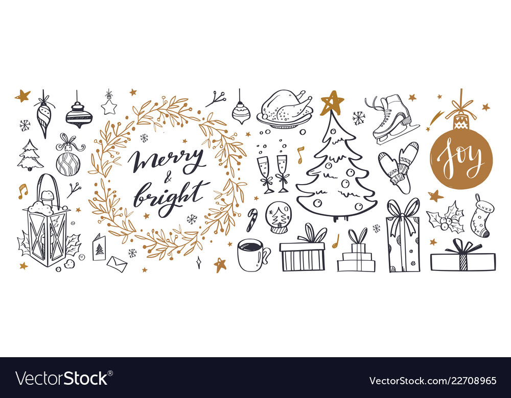 Big set of christmas design doodle elements with