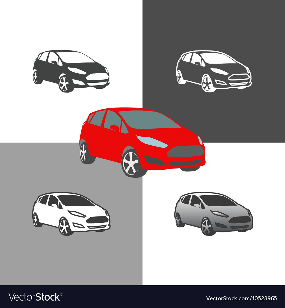 Car compact city vehicle silhouette icons colored