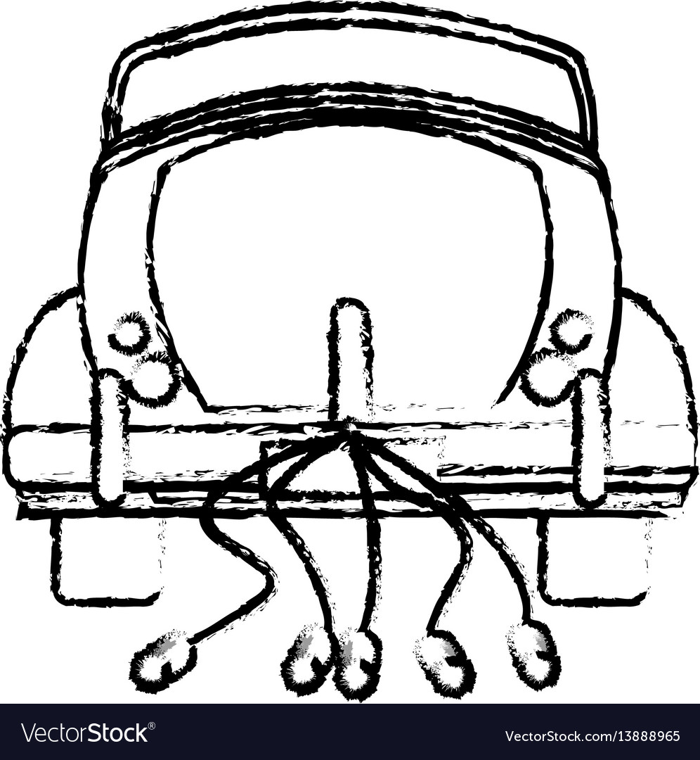 Classic car just married sketch vector image