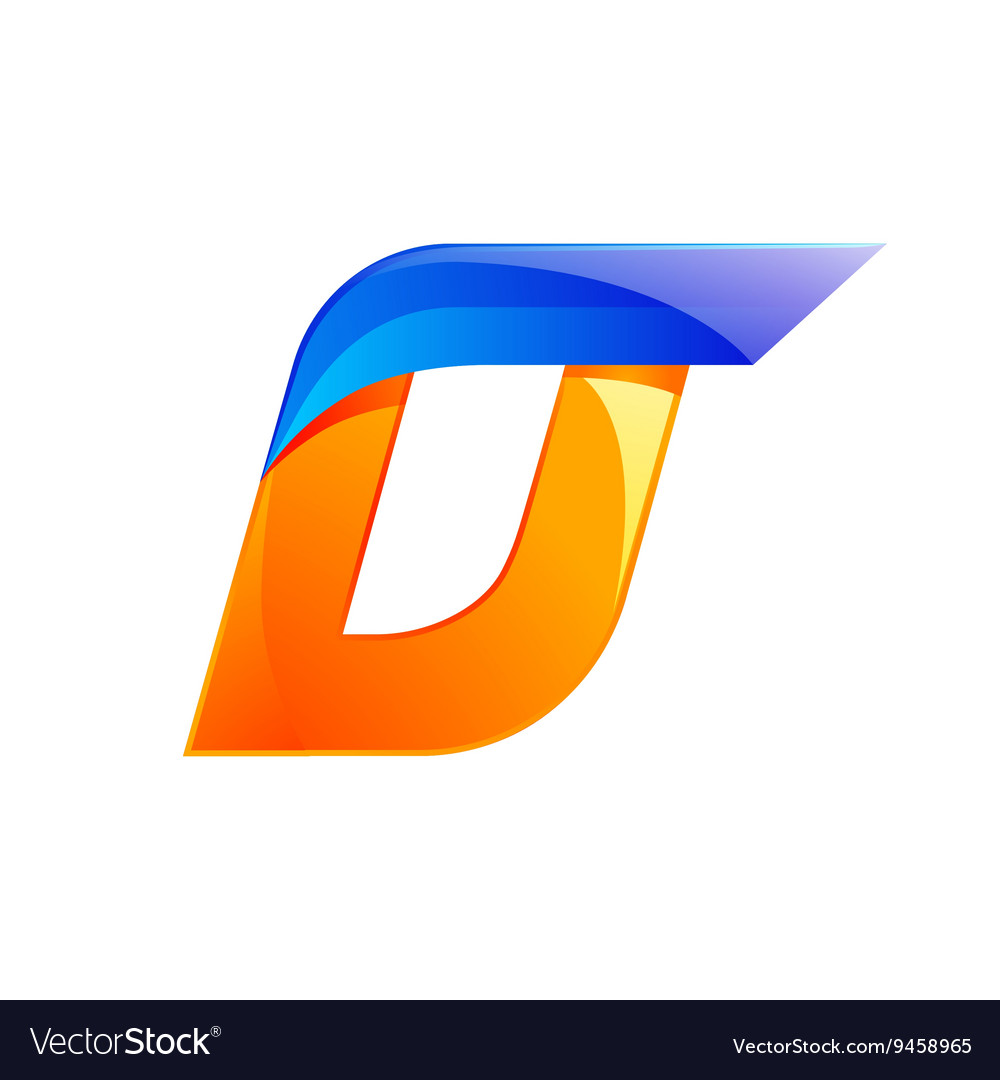 D letter blue and Orange logo design Fast speed vector image