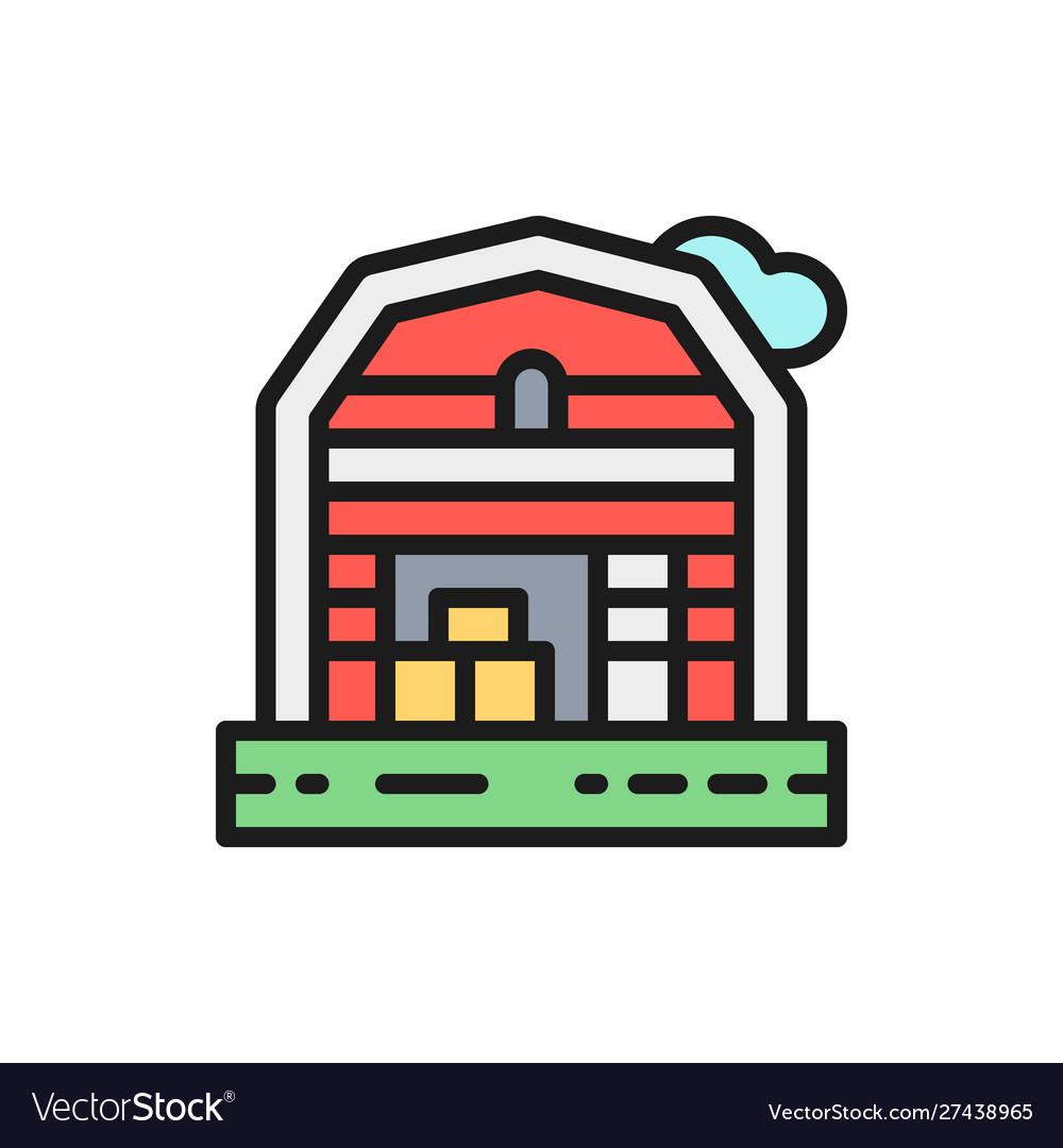 Farm house landscape flat color line icon
