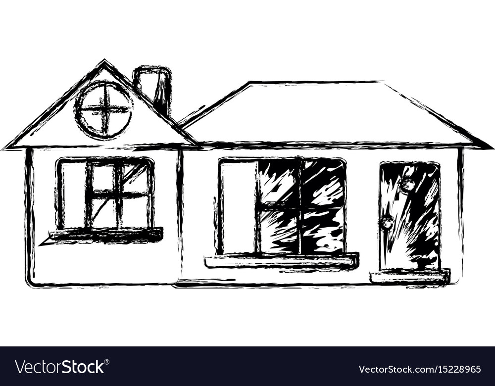Figure big house with roof and windows with door