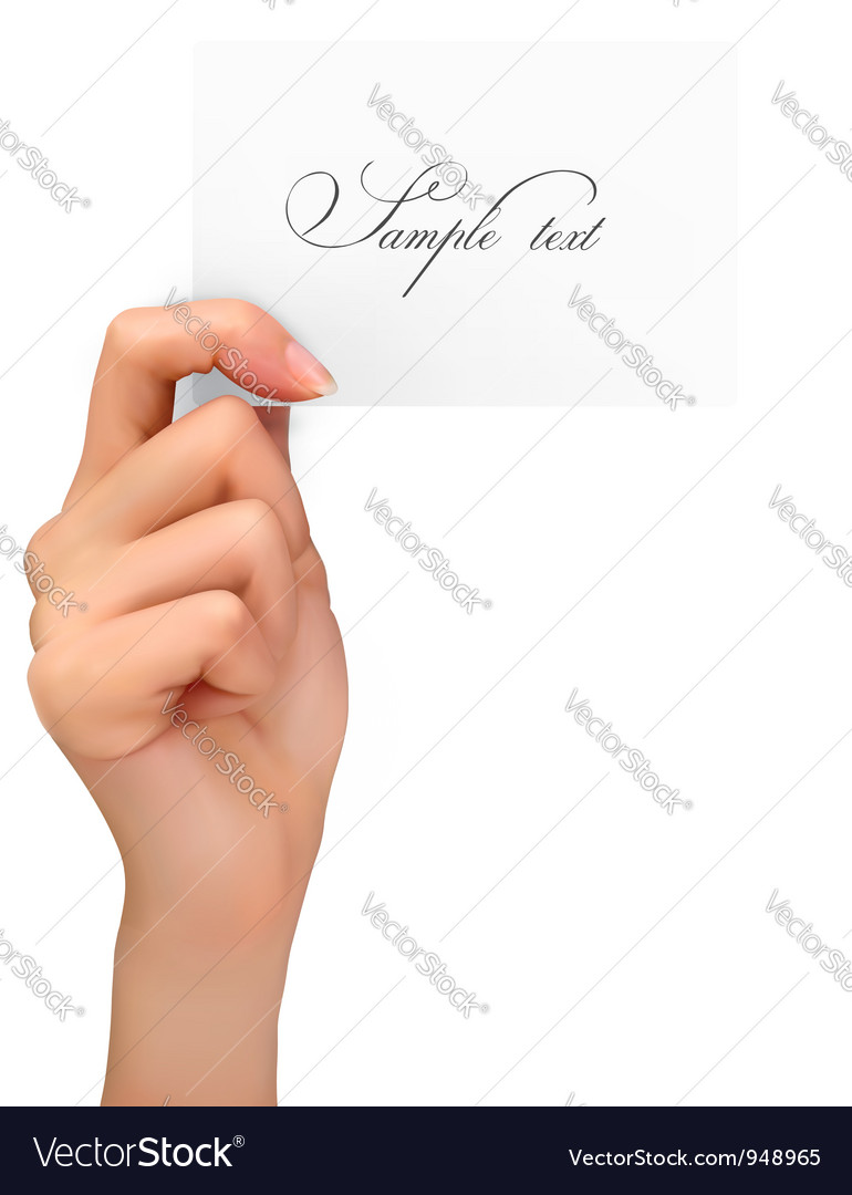 Hand holding paper card