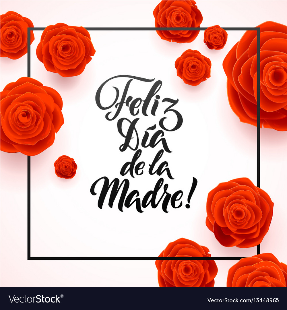 Happy mothers day spanish greeting card red rose