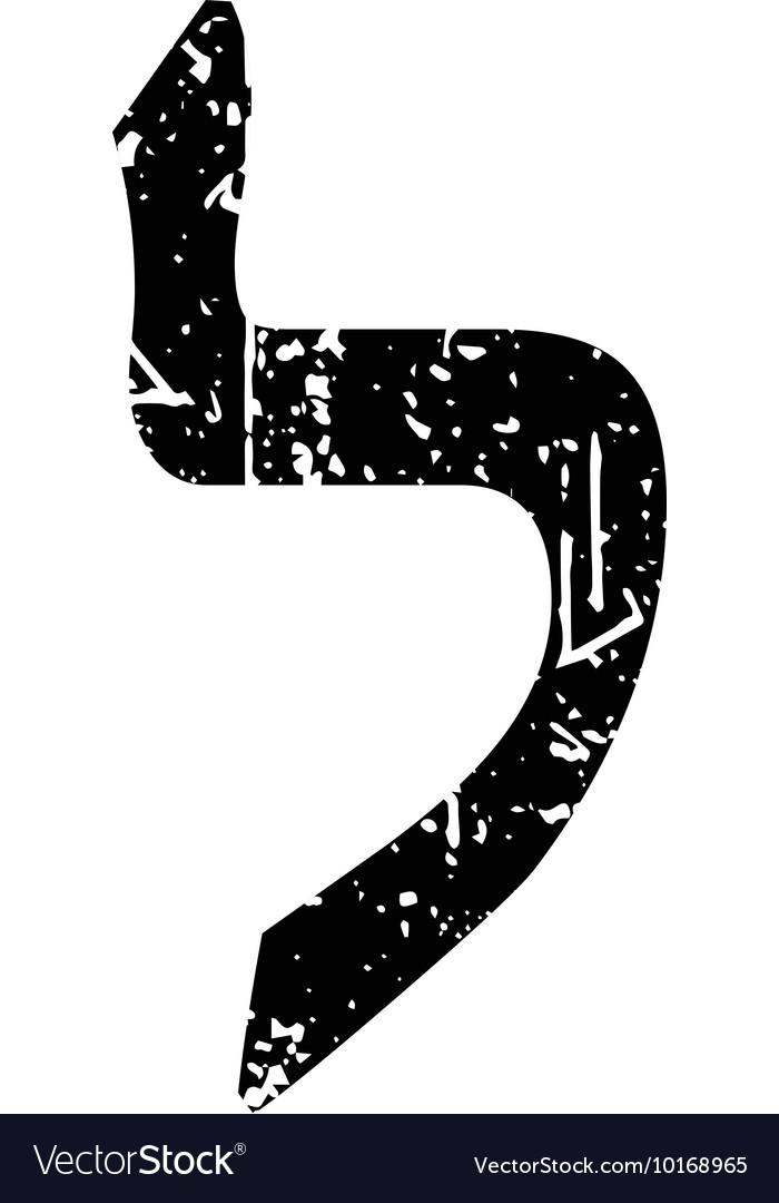 Hebrew letter Lamed Shabby black font The Hebrew vector image