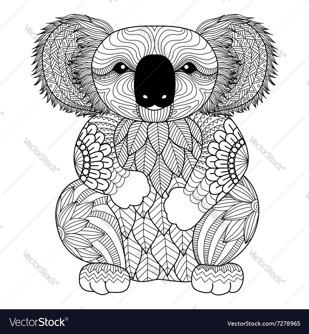 Koala Coloring Book Royalty Free Vector Image Vectorstock