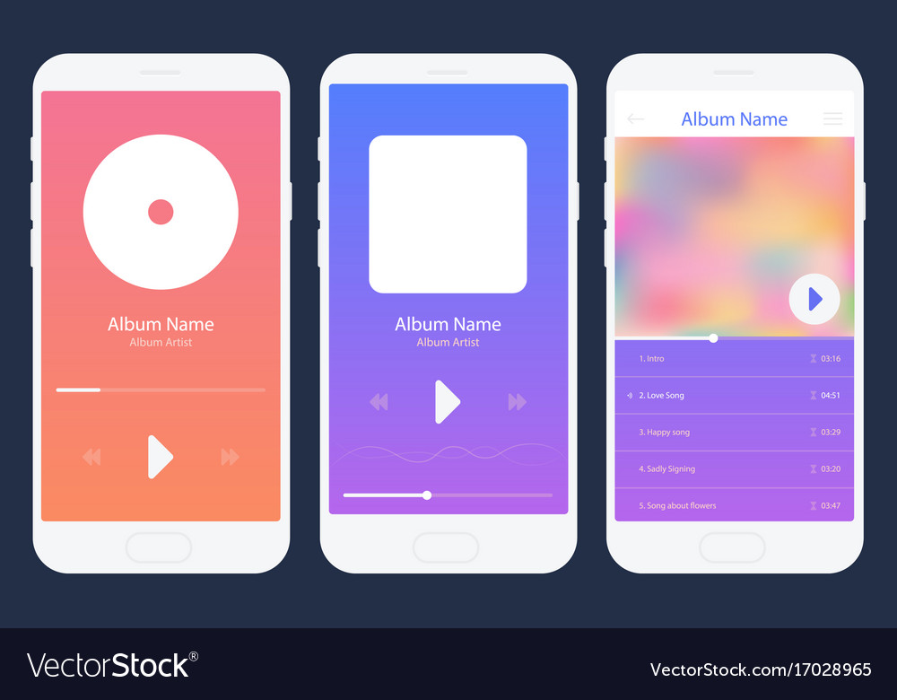 Mobile app music player set different variations