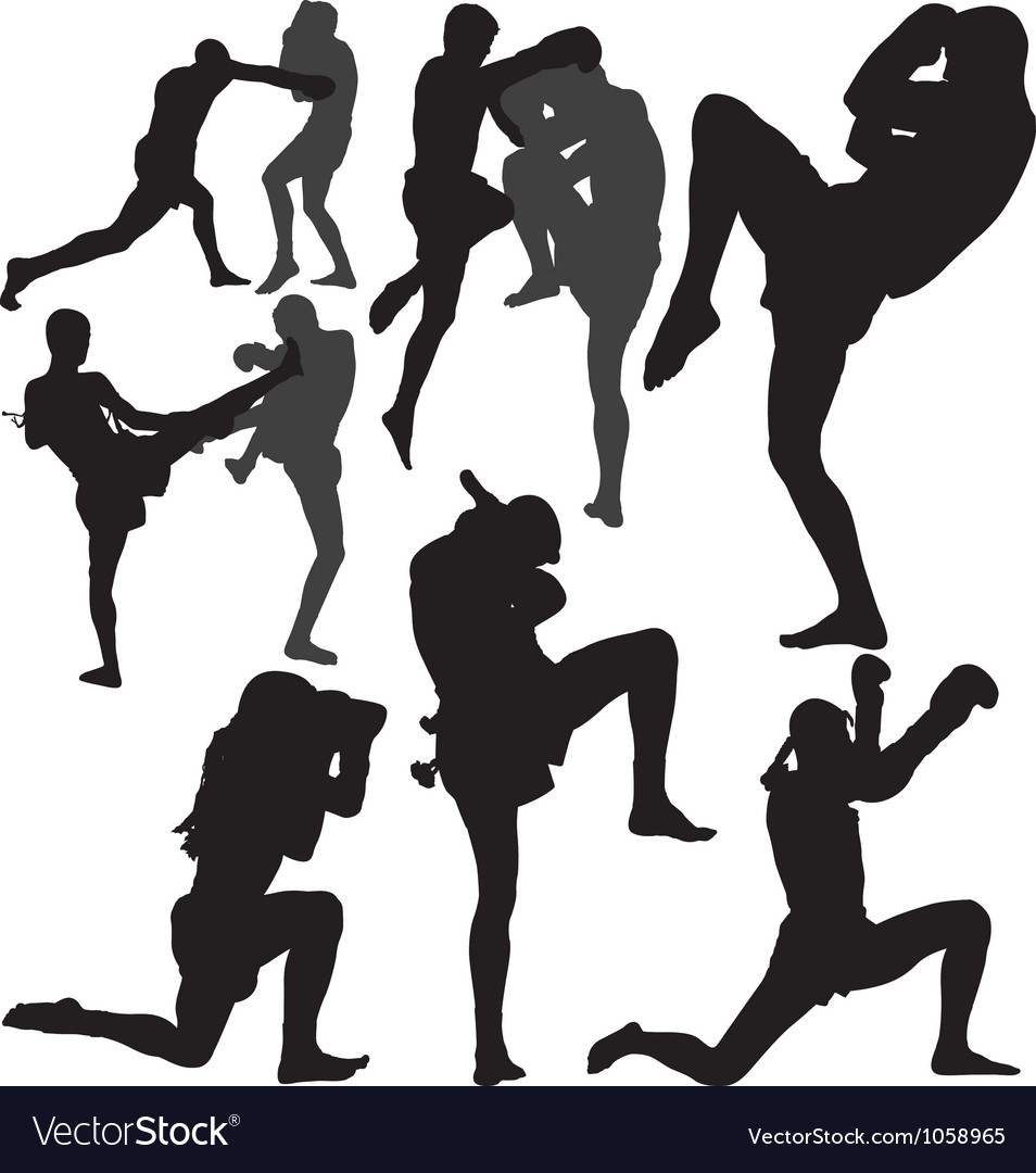 Muay Thai fighters silhouette