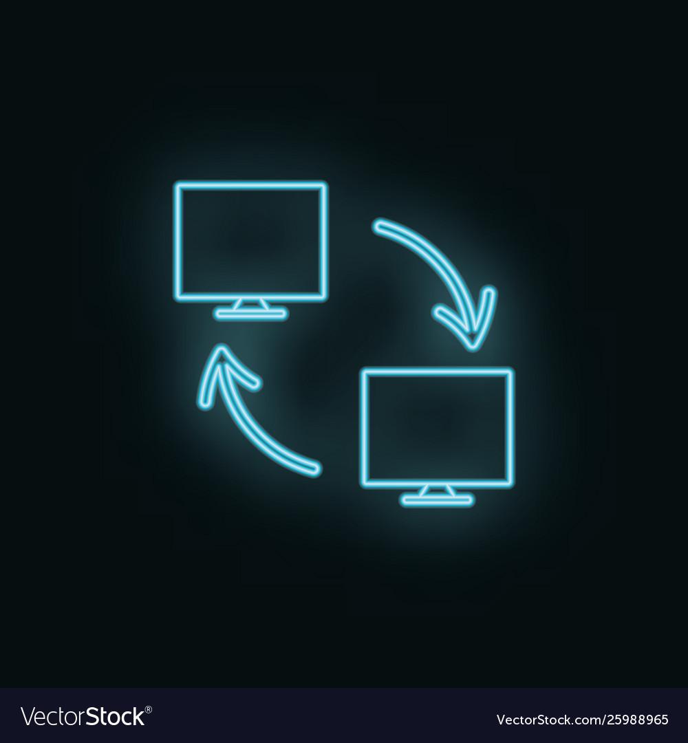 Networking monitor neon icon web development icon