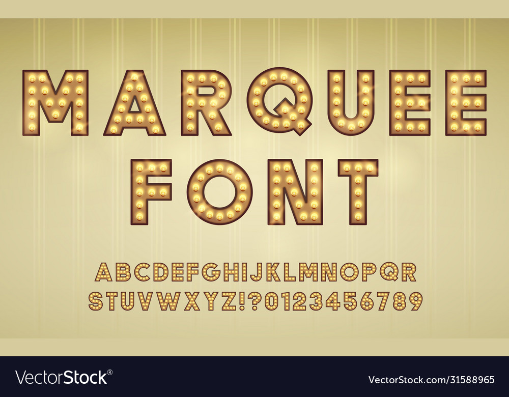 Retro Cinema Or Theater Shows Marquee Font For Vector Image