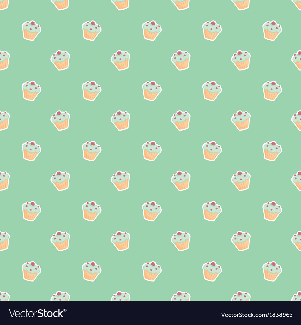 Seamless pattern or backgroun with little cupcakes