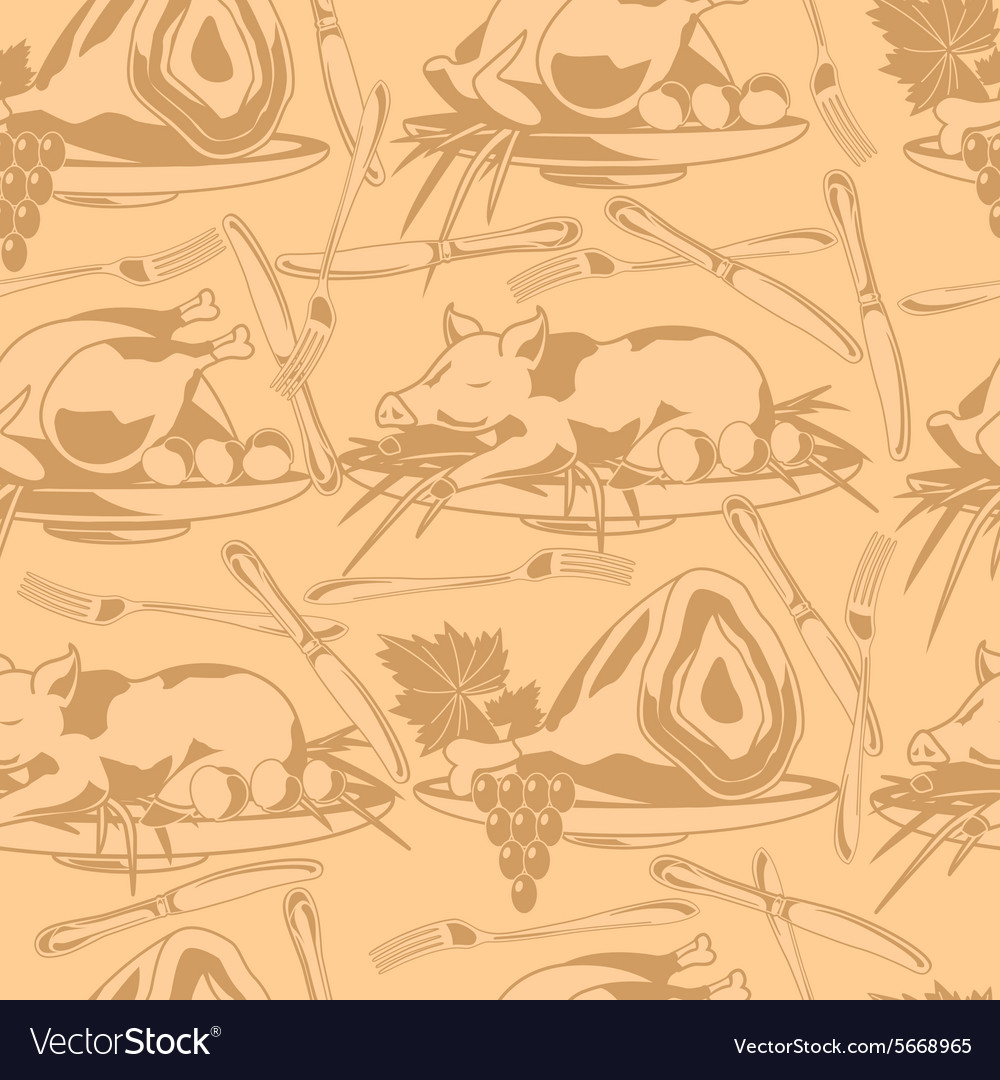 Seamless pattern with different types of meat