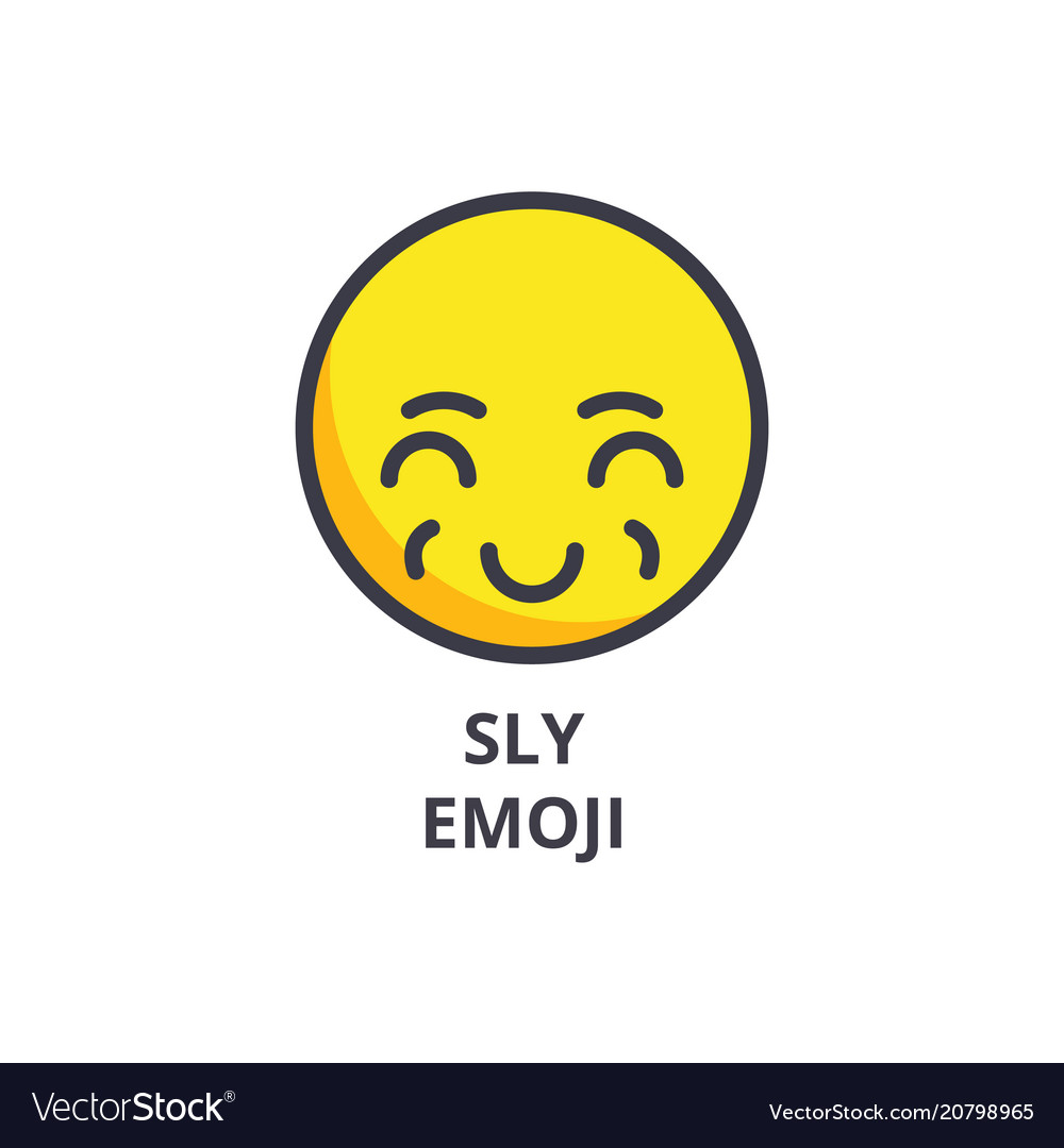 Sly emoji line icon sign on vector image
