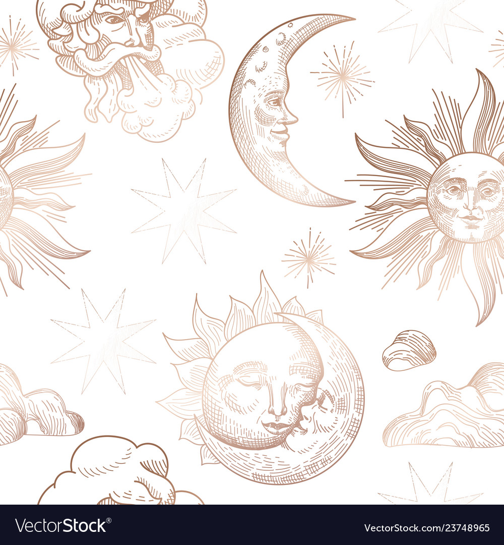 Sun and moon vintage seamless pattern oriental