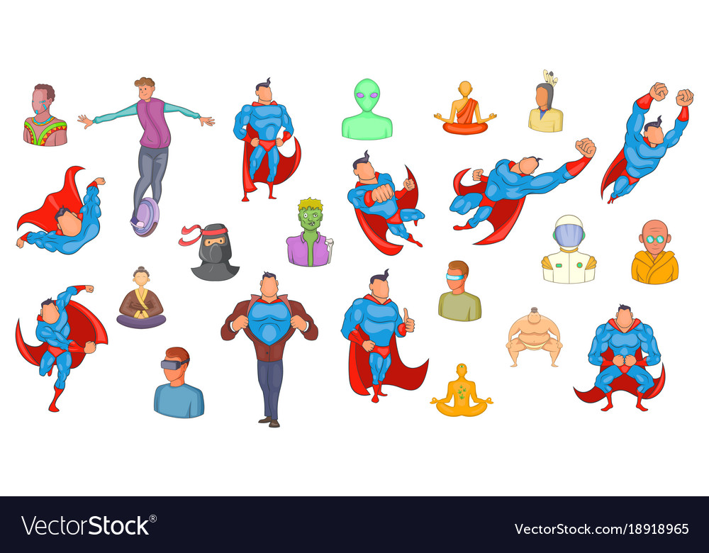 Super heroes icon set cartoon style