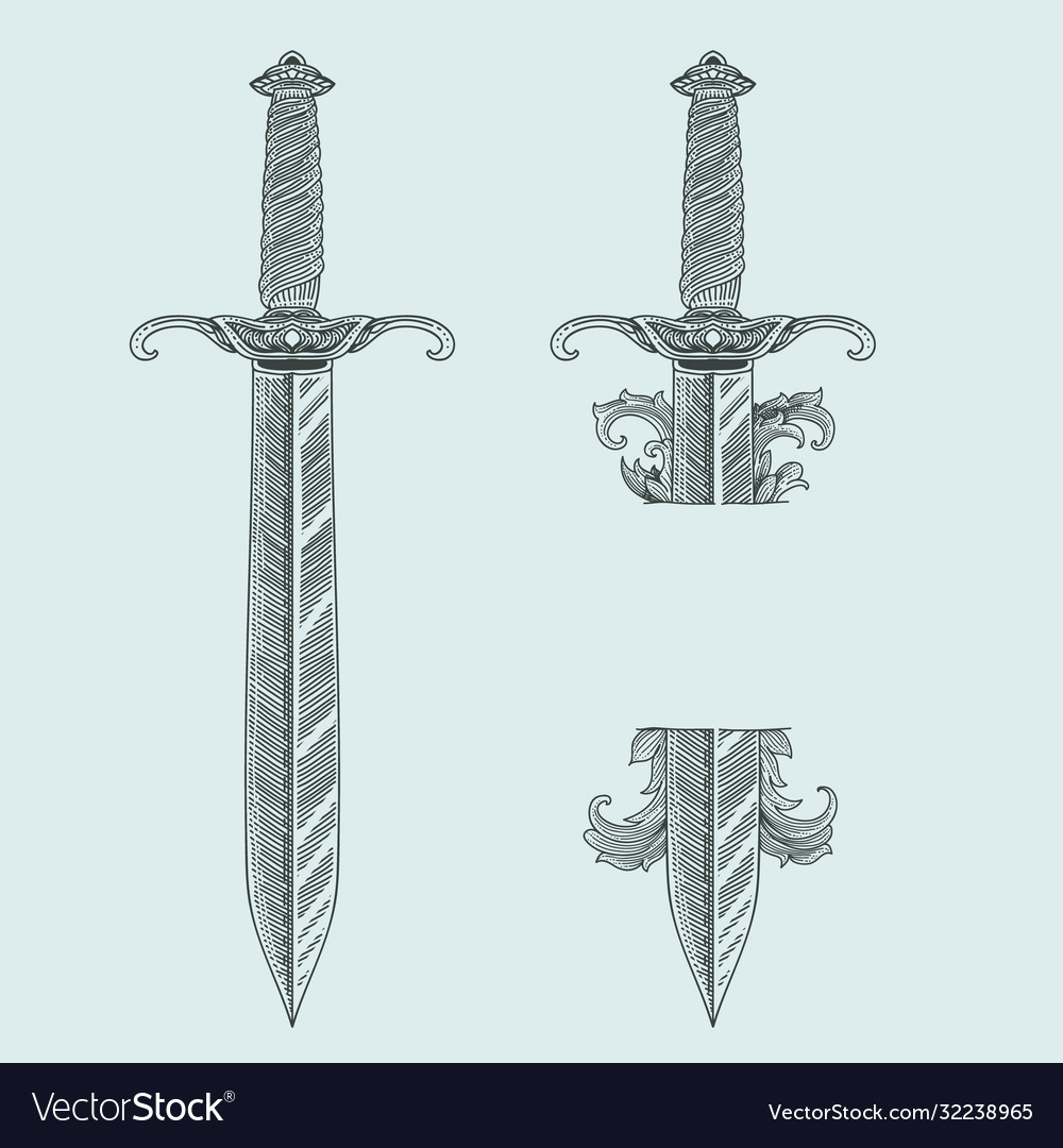 Vintage dagger with engraving style set