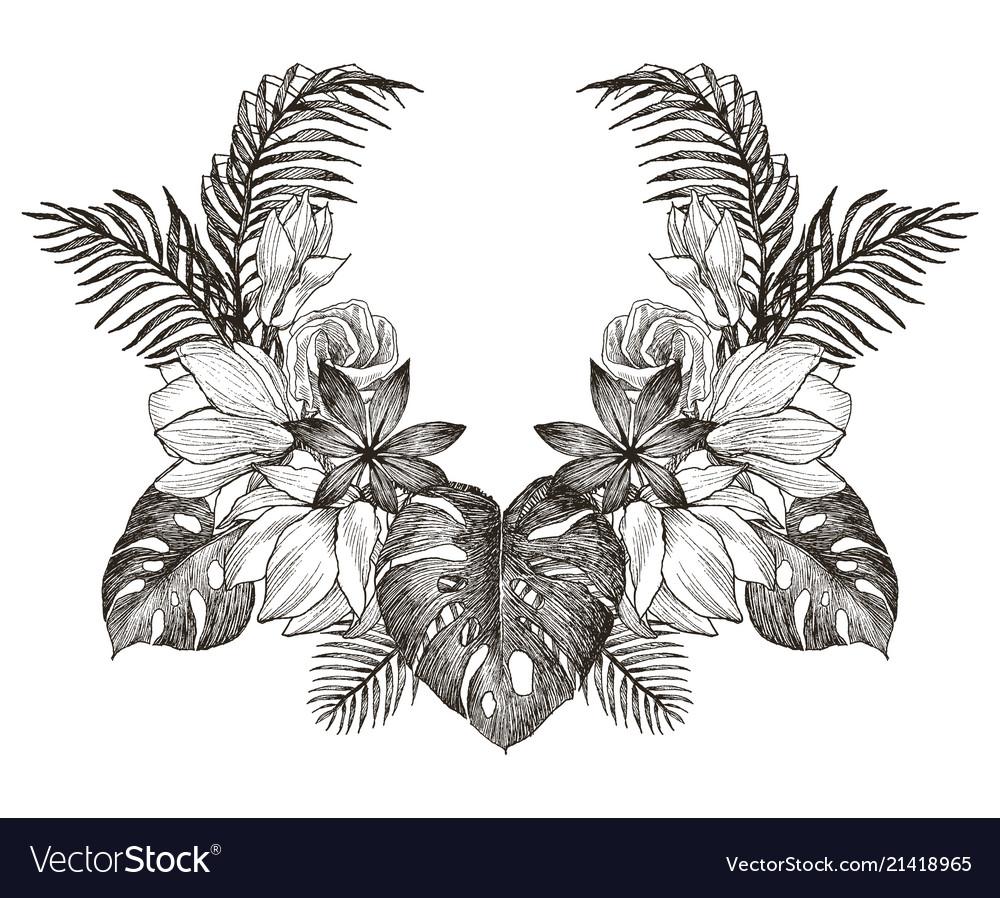 Vintage frame border monogram tropical floral