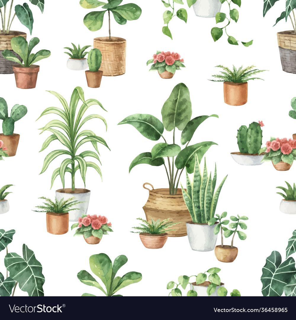 Watercolor seamless pattern indoor green