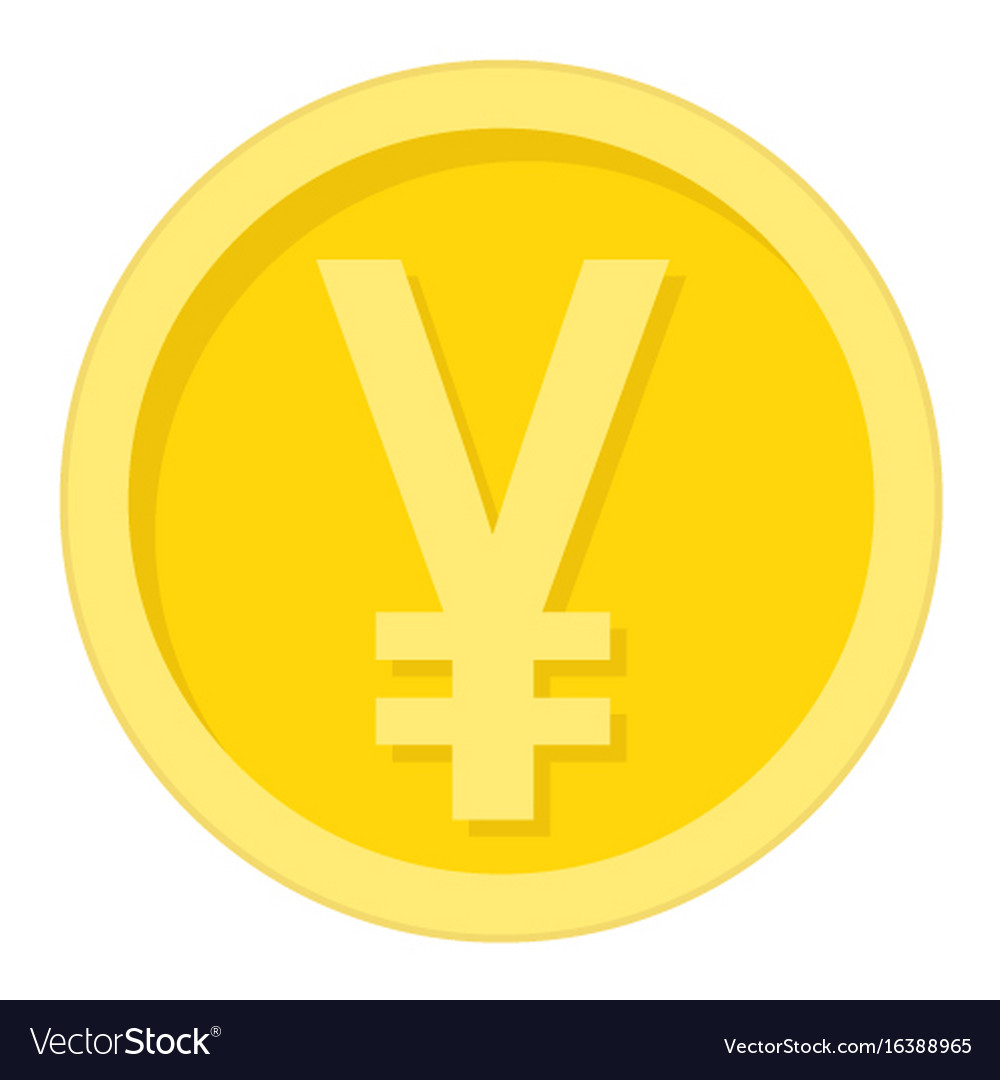 Yen coin flat icon business and finance money