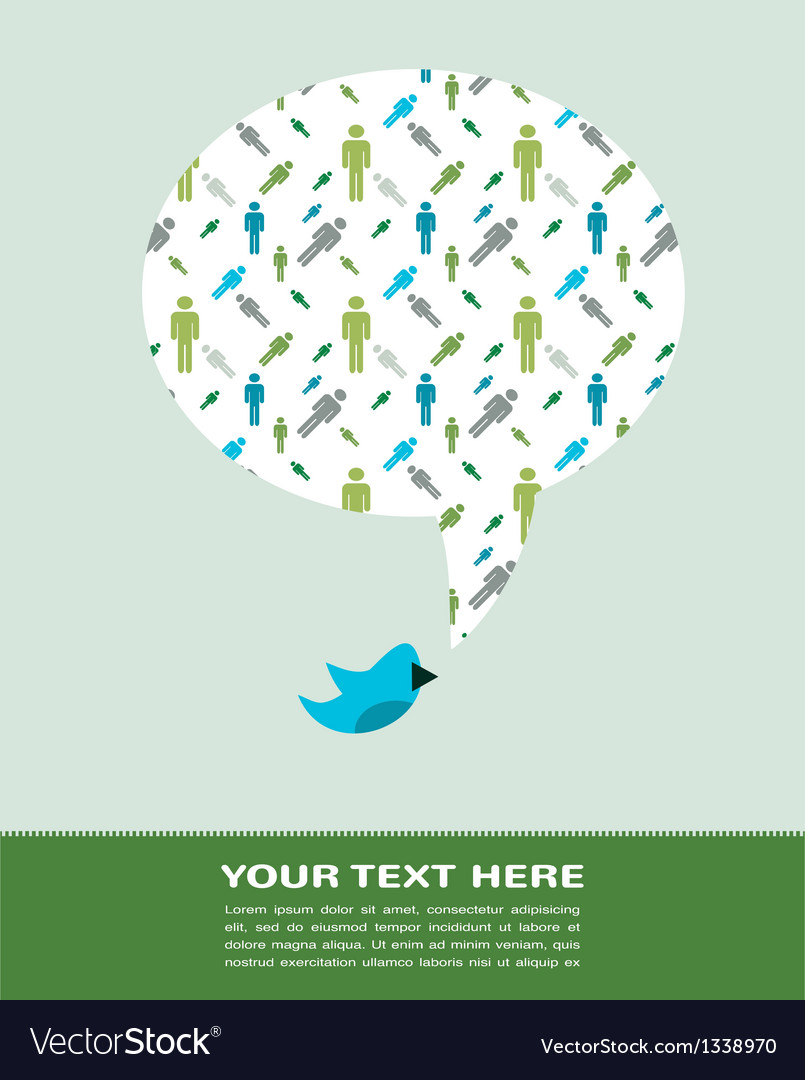 Bird with speech bubble with man pattern vector image
