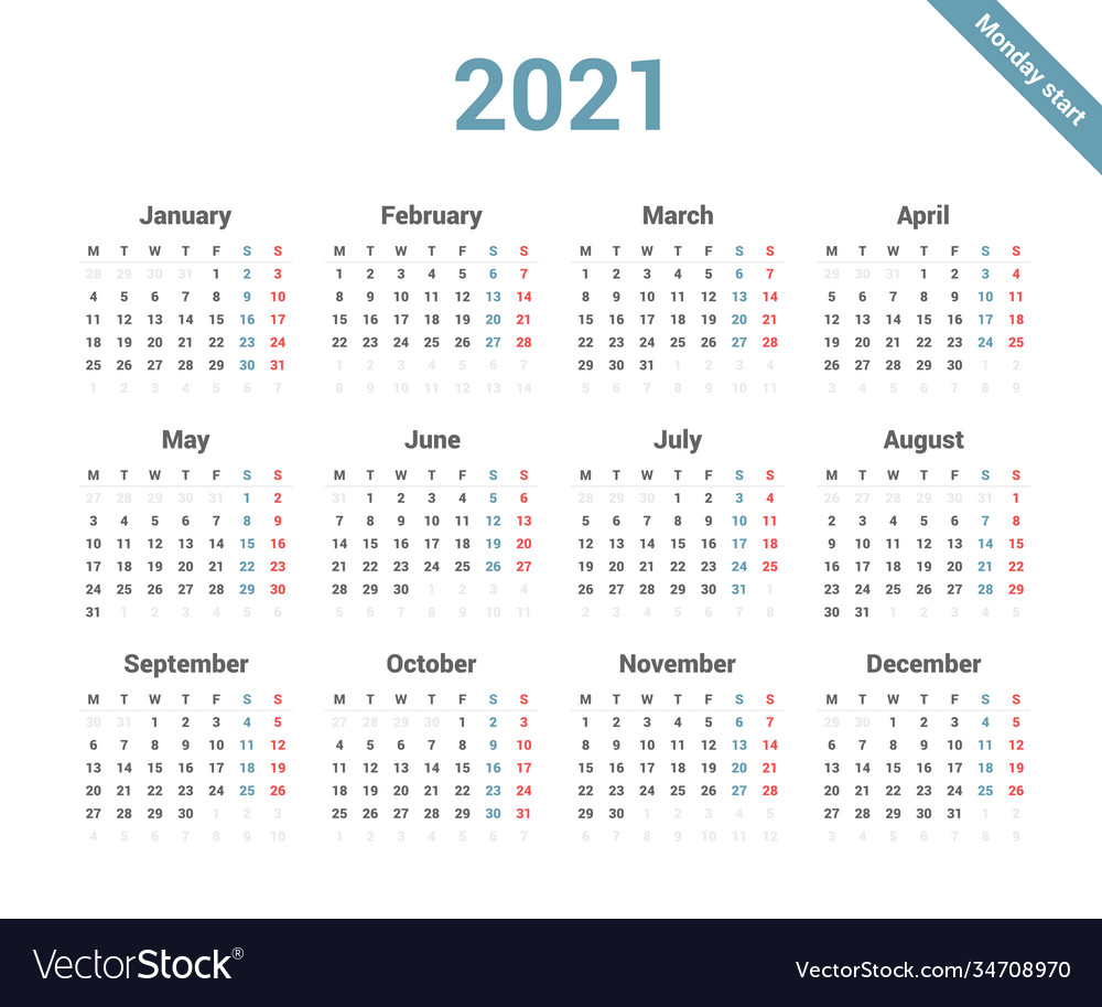 Calendar 20 simple style week starts on monday Vector Image