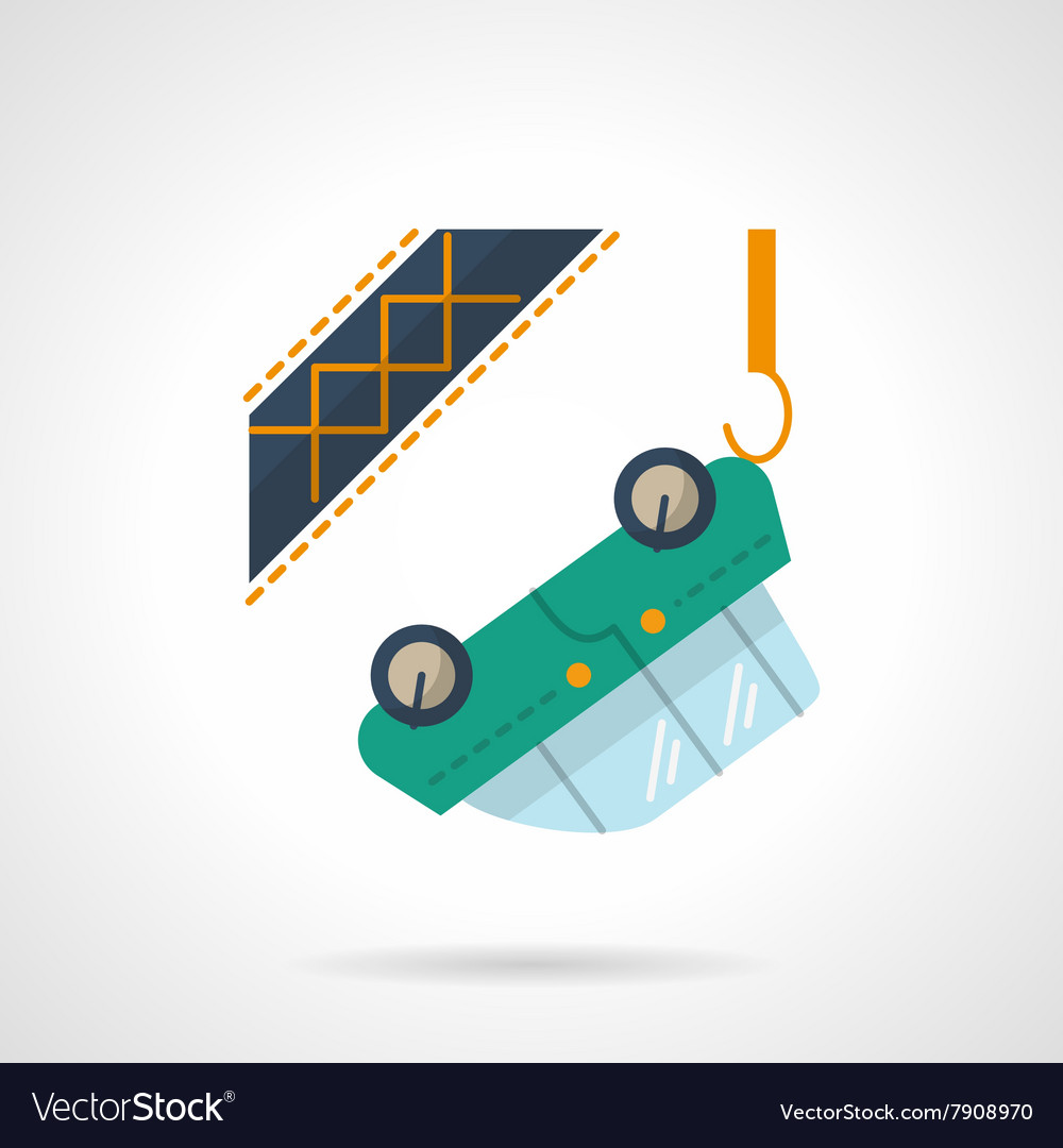 Car towing flat color design icon