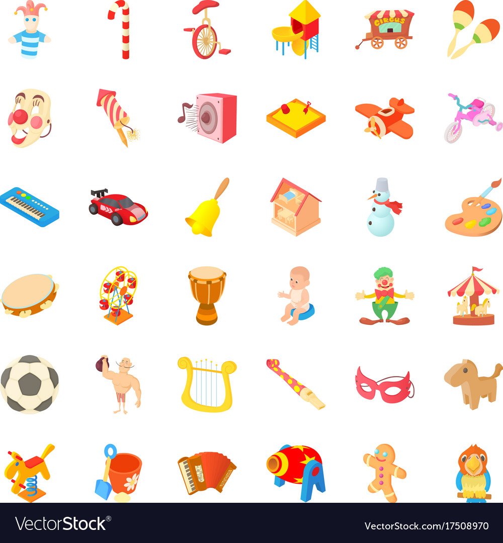Children park icons set cartoon style