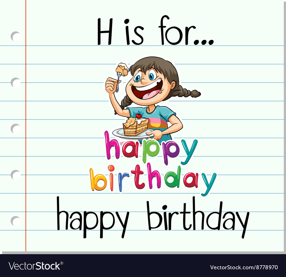 flashcard letter h is for happy birthday vector image