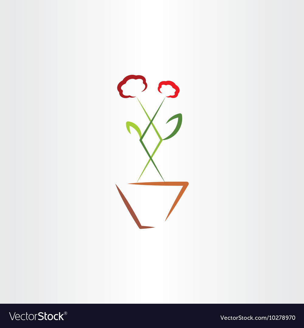 Flower in pot clip art icon vector image