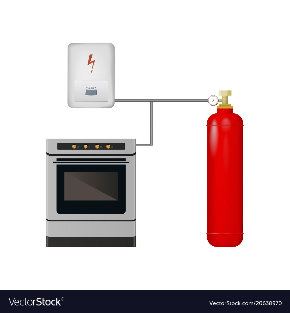 Gas stove and boiler with cylinder