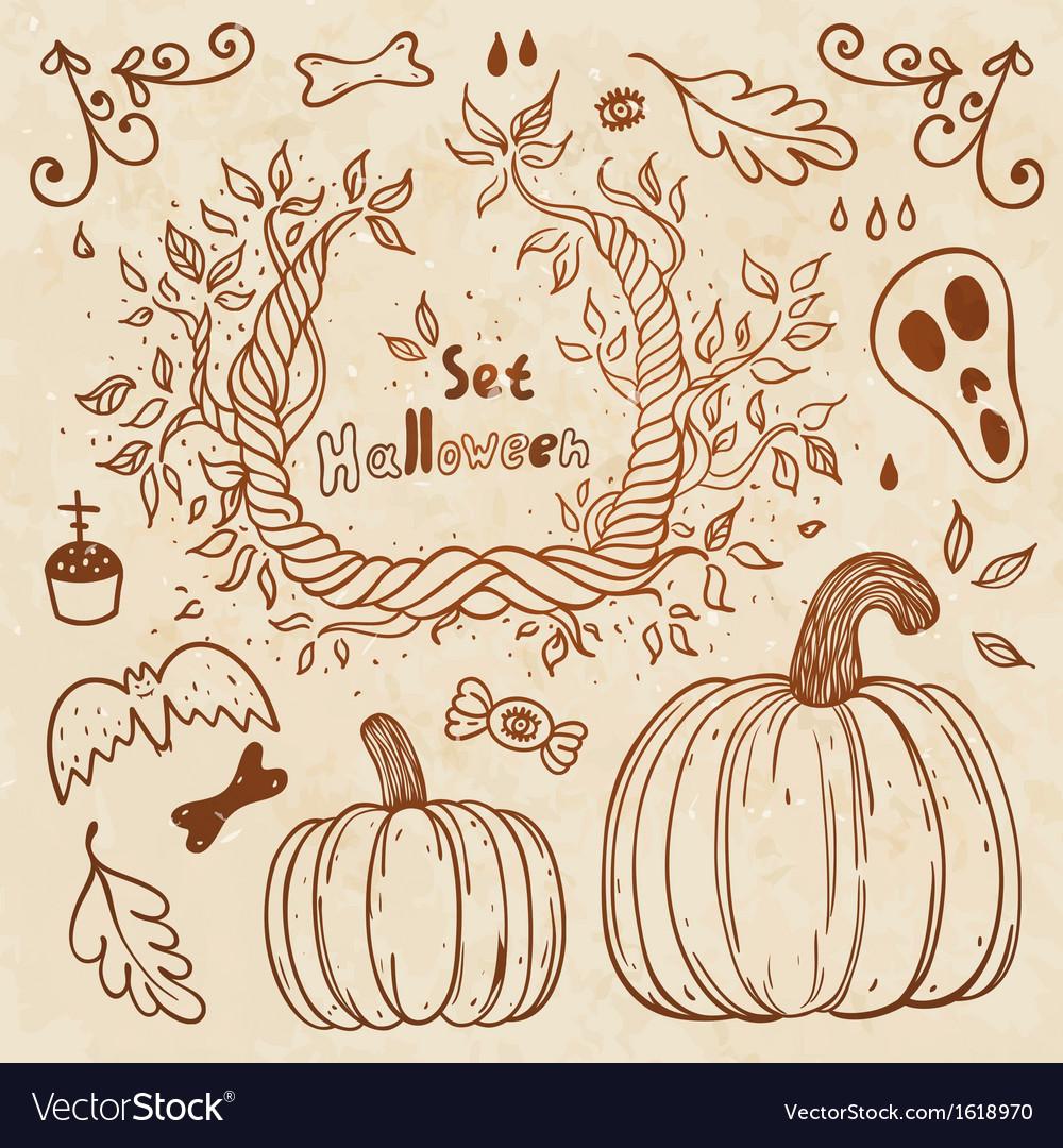 Hallowen hand-drawn set Autumn template