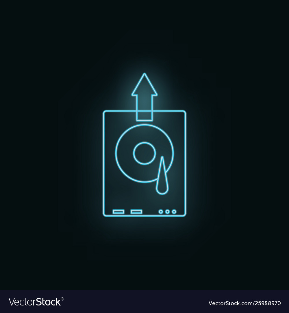 Hard disk neon icon web development icon element